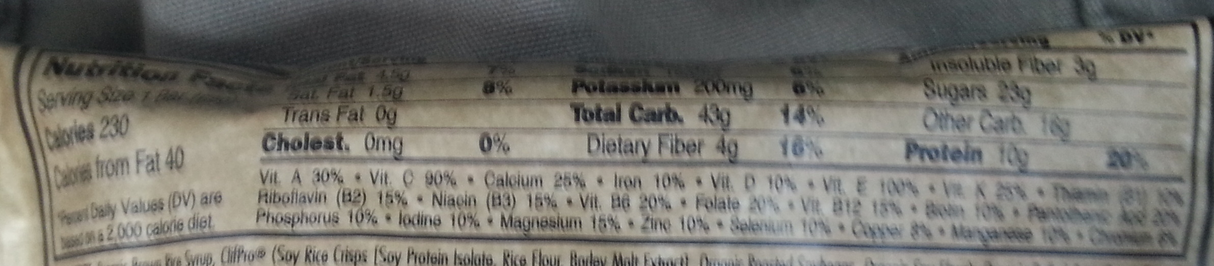 Chocolate chip energy bar - Nutrition facts