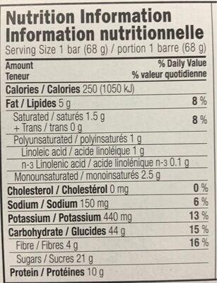 Barre clif aux brisures de chocolat - Informations nutritionnelles - en