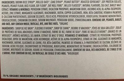 Bar clif crunchy peanut butter - Ingrédients - fr