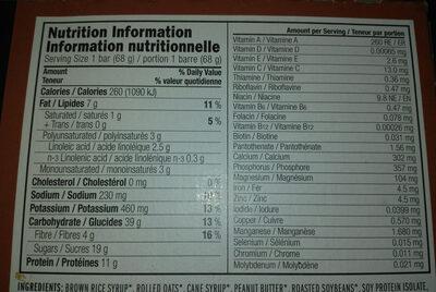 Bar clif crunchy peanut butter - Informations nutritionnelles - en