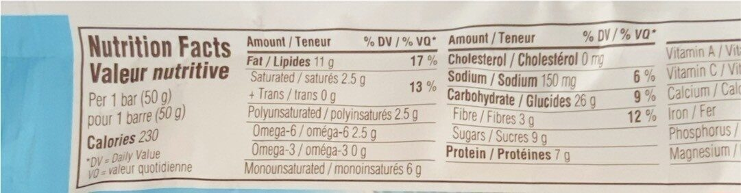 Organic Nut Butter Filled Energy Bar Chocolate PB - Nutrition facts - en