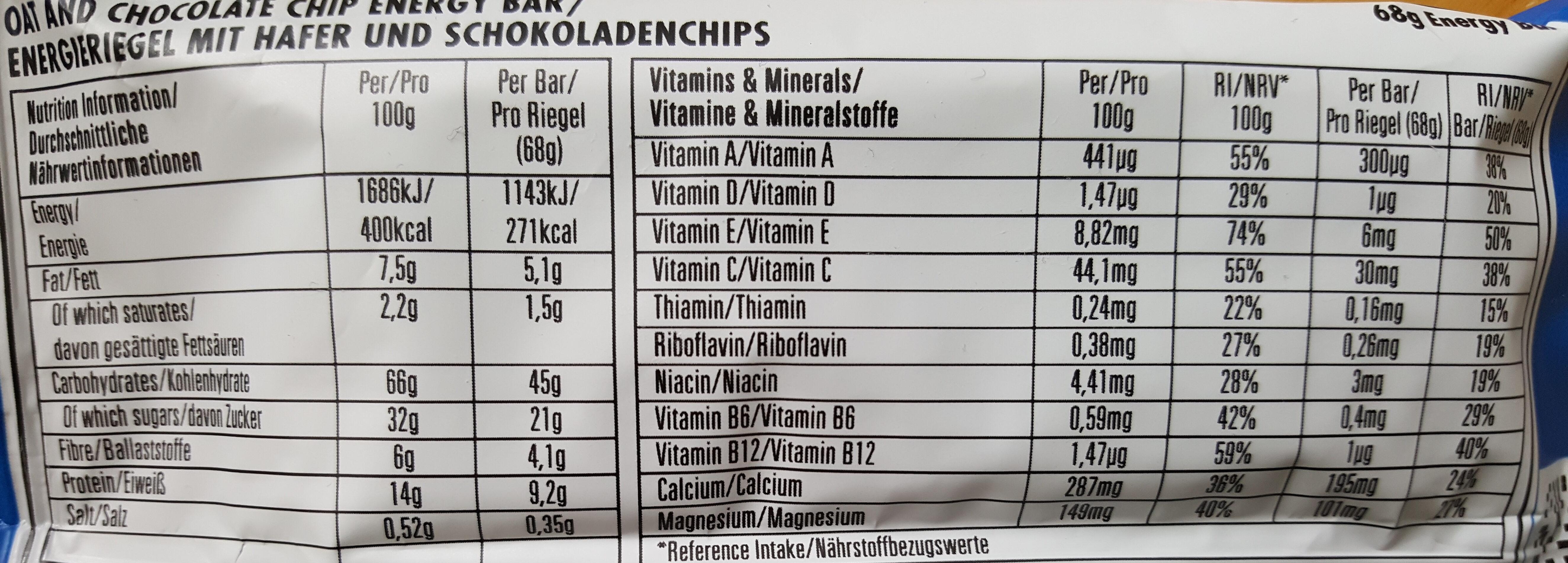 Chocolate Chip - Informations nutritionnelles - en