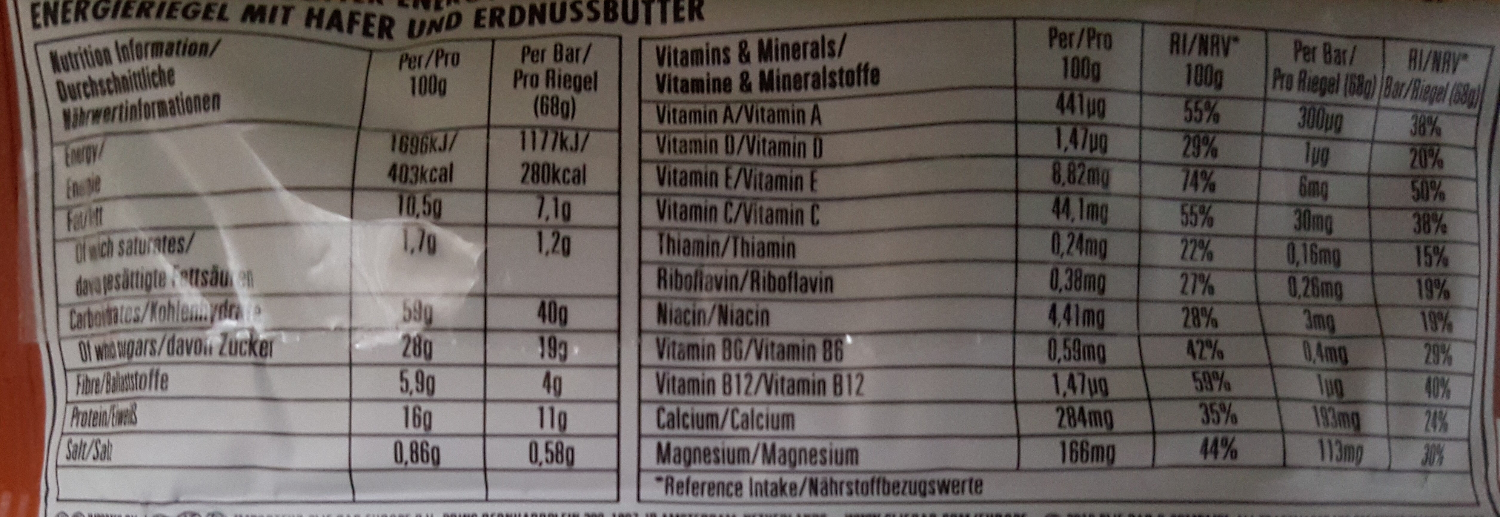 Cliff bar crunchy peanut butter - Nutrition facts