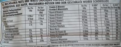 White Chocolate Macadamia Nut Flavour Energy Bar - Nutrition facts - en