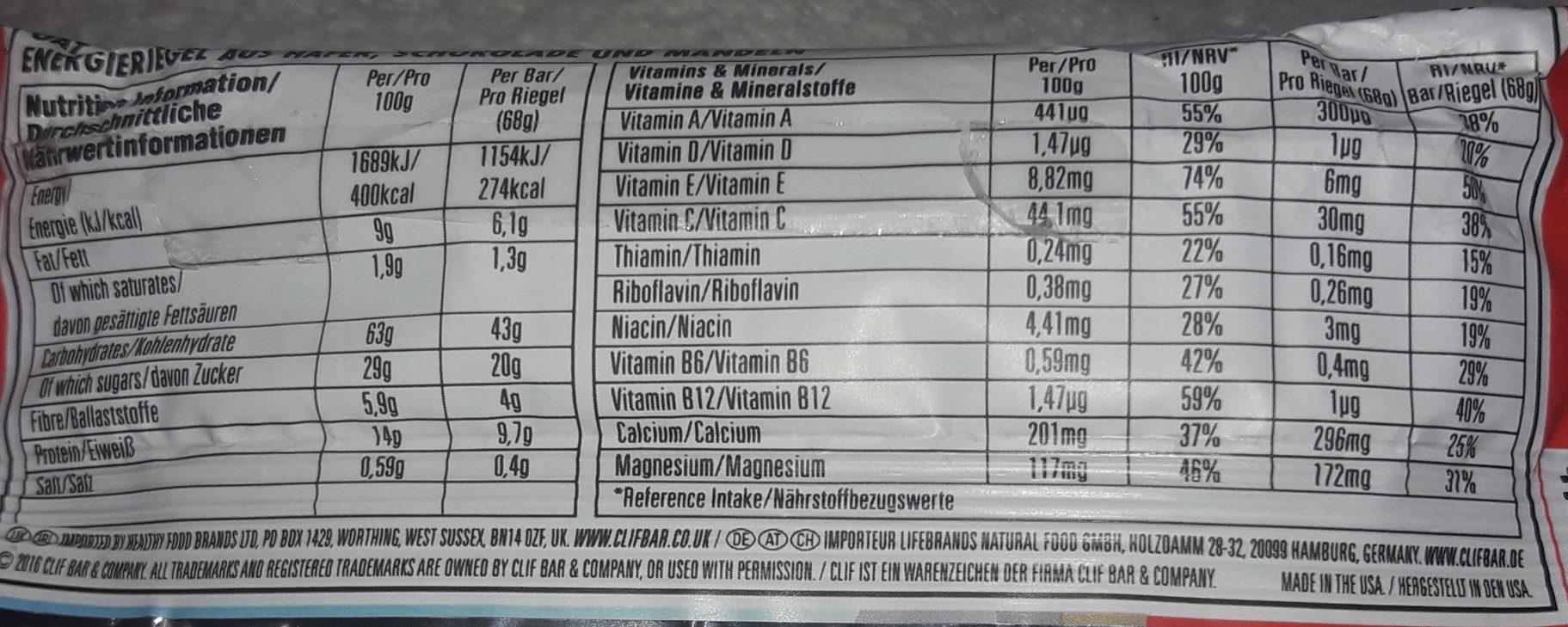 Chocolate Almond Fudge bar - Nutrition facts