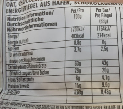 Coconut Chocolate Chip - Valori nutrizionali - en