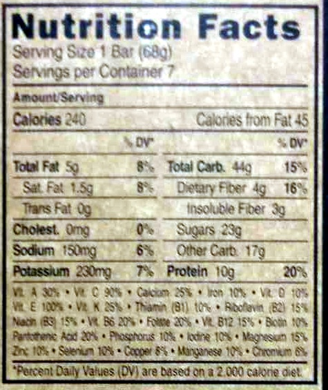 Chocolate chip energy bars, chocolate chip - Nutrition facts - en