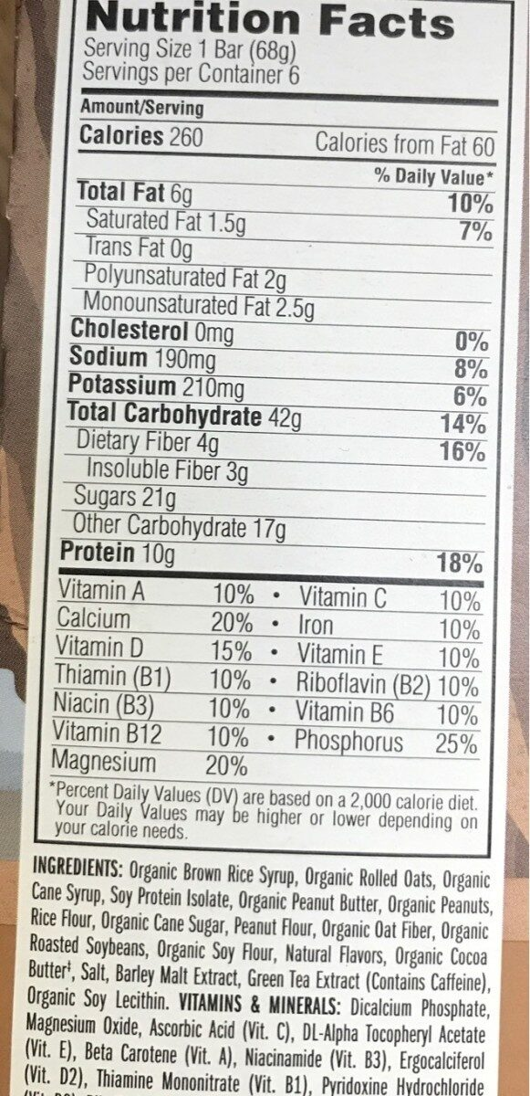 Peanut toffee buzz - Nutrition facts
