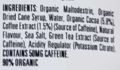 Shot Energy Gel Mocha - Ingredients