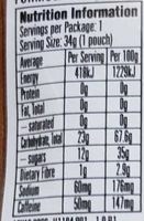 Shot Energy Gel Mocha - Nutrition facts
