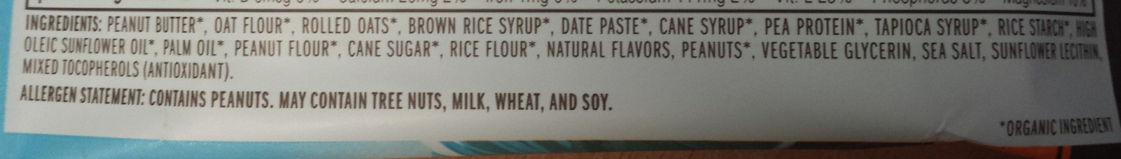 Organic nut butter filled peanut butter energy bar - Ingredients - en
