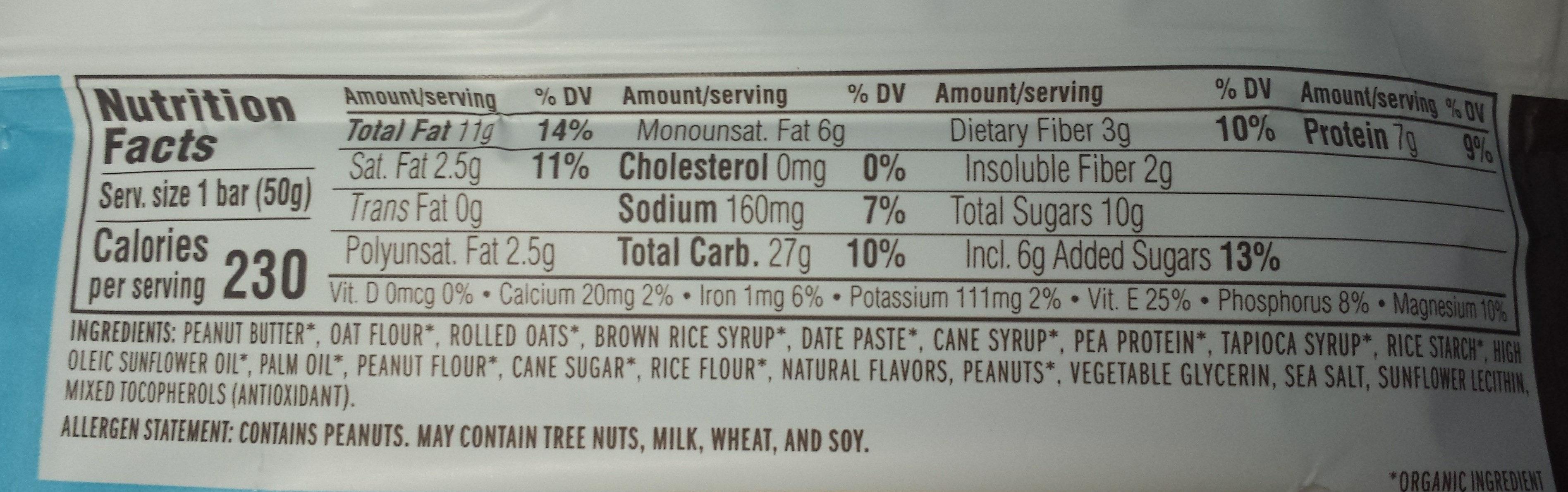 Organic nut butter filled peanut butter energy bar - Nutrition facts - en