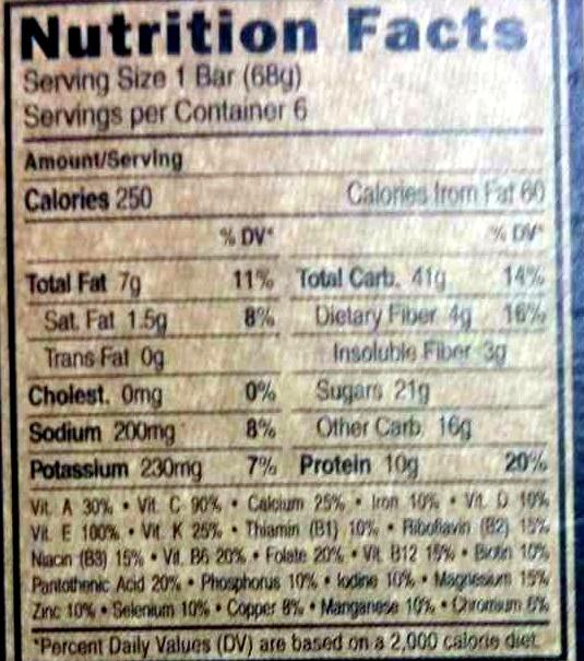 Chocolate chip peanut crunch energy bars, chocolate chip peanut crunch - Nutrition facts - en
