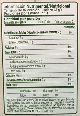 Splenda Naturals Stevia - Información nutricional - es