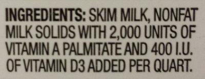 Fortified Fat Free Milk - Ingredients - en