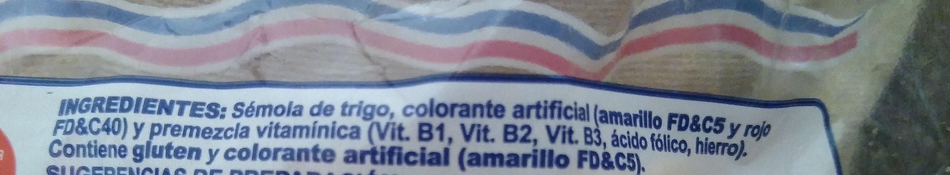 Fideos - Ingredientes - es