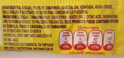 Candy Hot and Salted Tamarind Pulp - Nutrition facts
