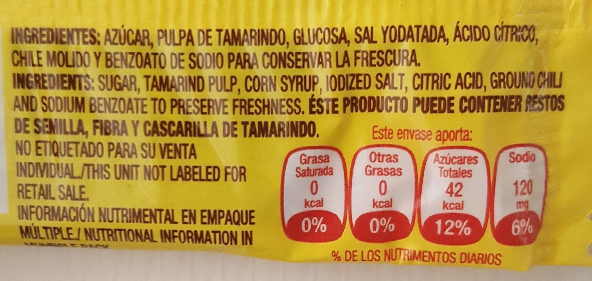 Candy Hot and Salted Tamarind Pulp - Informations nutritionnelles - fr