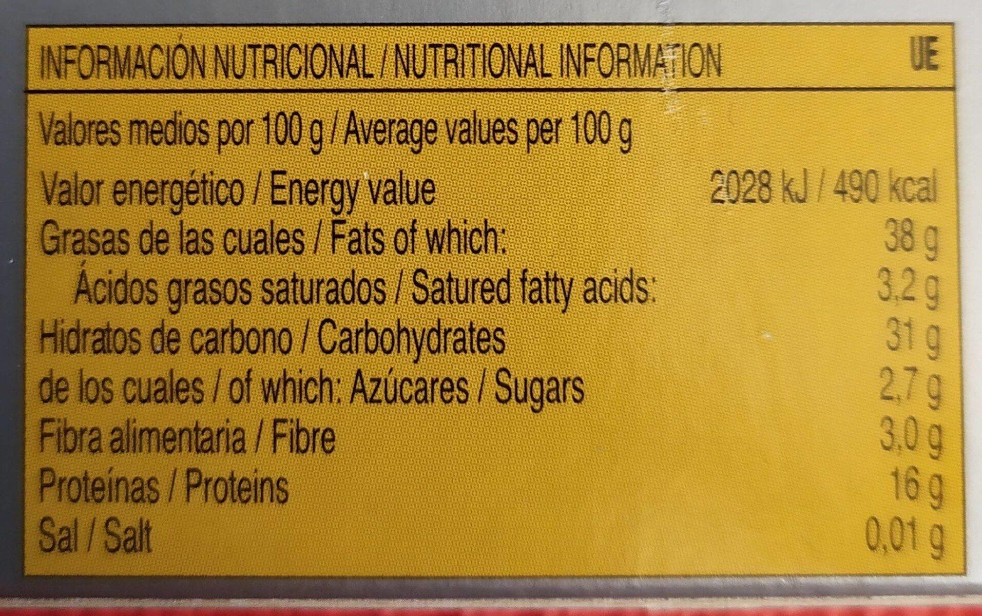 Sugar Free Crunchy Alicante Turron Candy (7 Oz / 200 G) - Informations nutritionnelles - fr