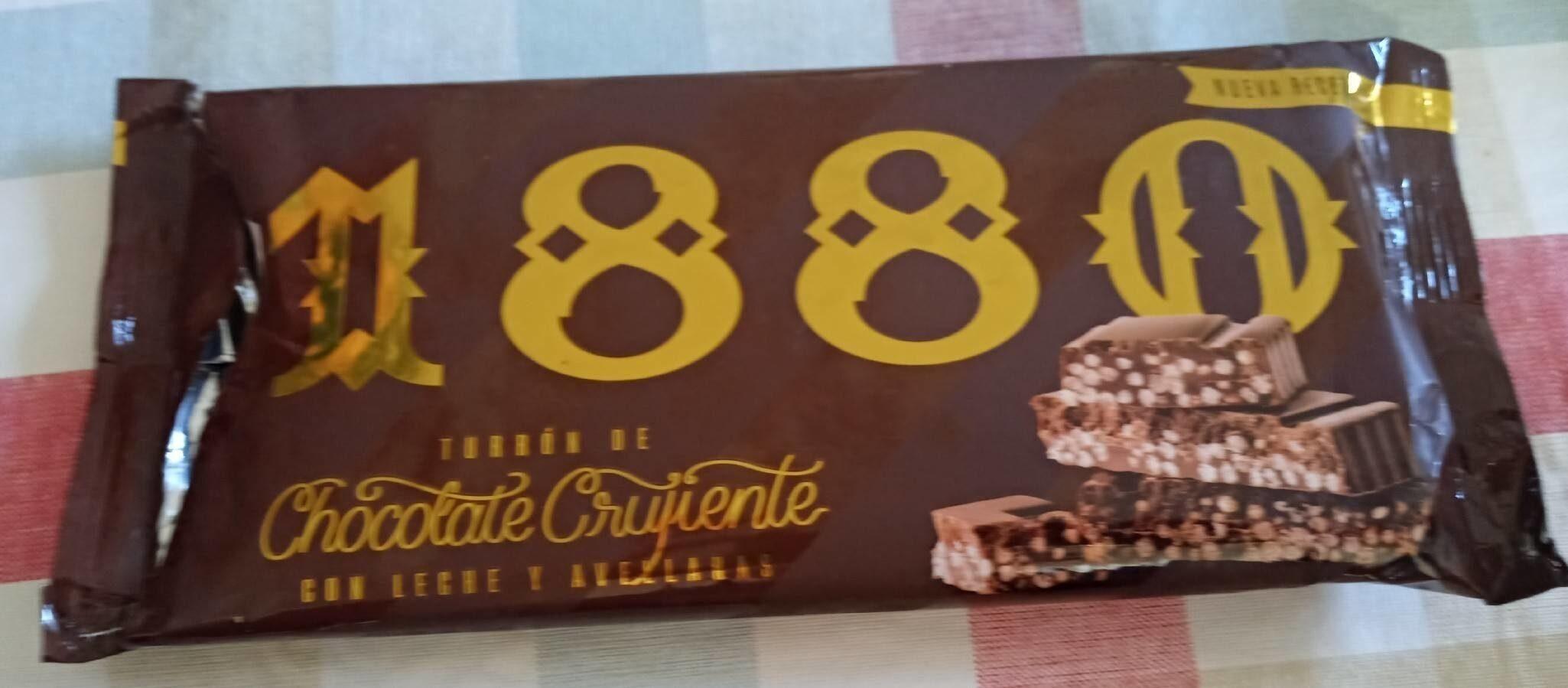 Turrón de chocolate crujiente con leche y avellanas - Produit - es