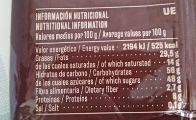 Turrón de chocolate crujiente con leche y avellanas - Informations nutritionnelles