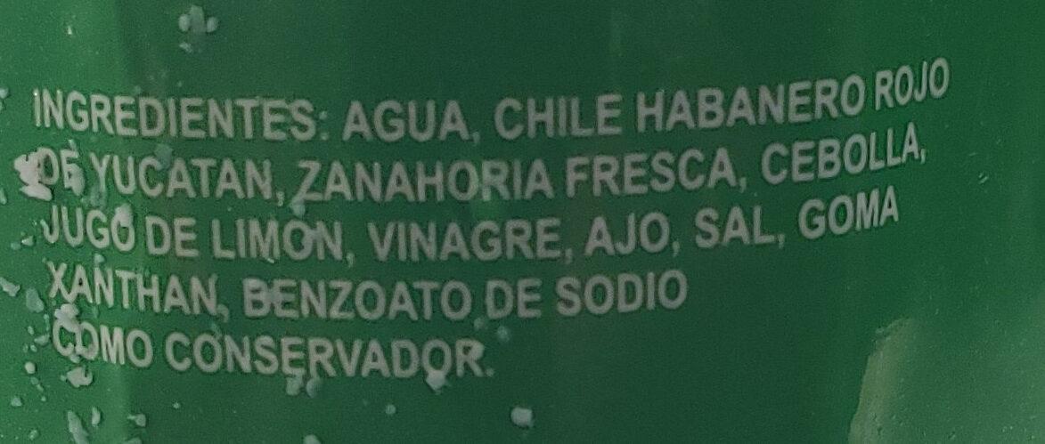 Melindas Salsa de Chile Habanero - Ingredients - es