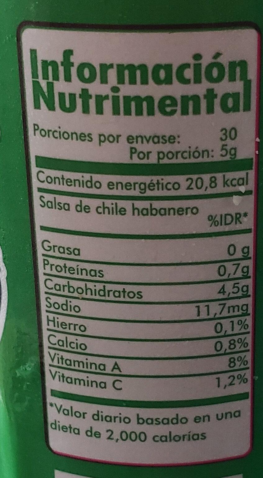 Melindas Salsa de Chile Habanero - Nutrition facts - es