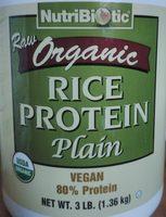 Nutribiotic, raw organic rice protein plain - Product - en