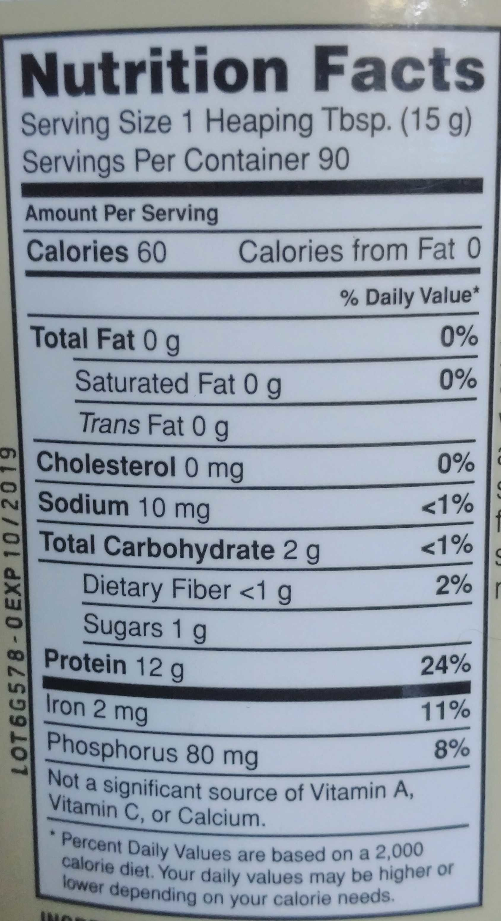 Nutribiotic, raw organic rice protein plain - Nutrition facts - en