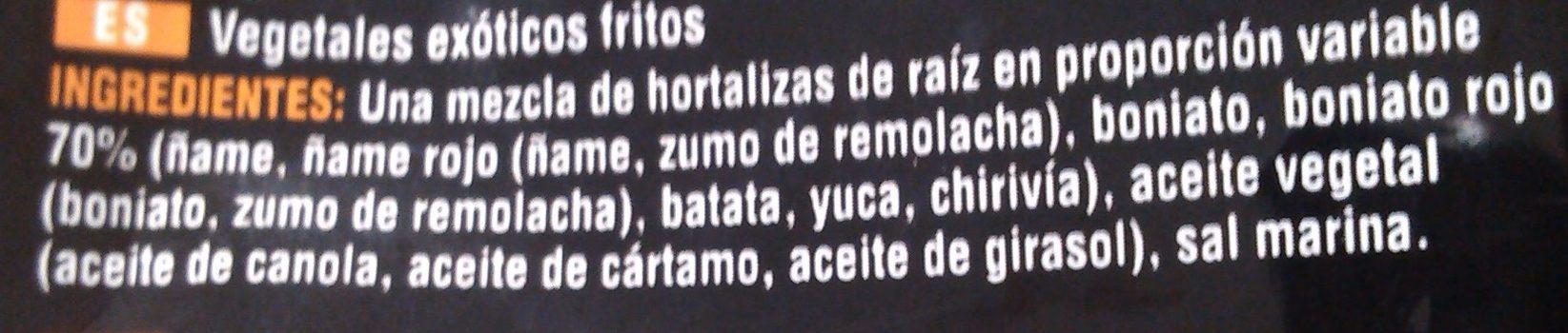 Chips De Légumes Exotiques - Ingredientes - es