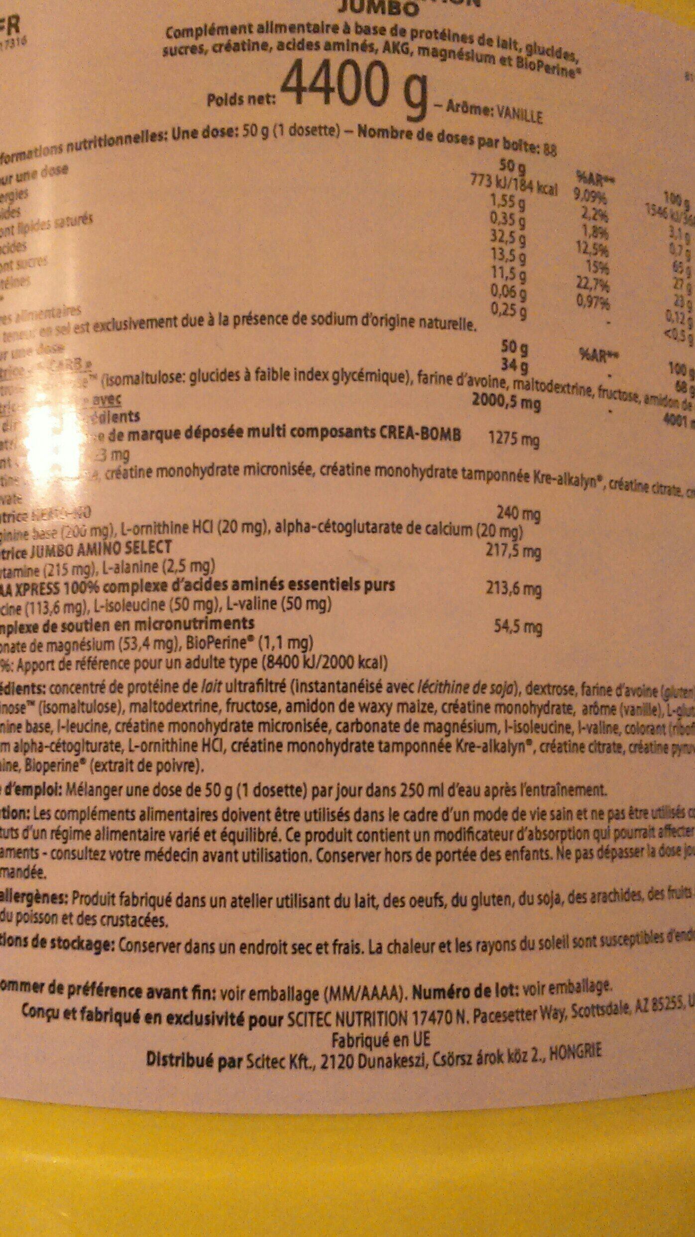 Sctec Nutrition Jumbo 4400 Gr Vanilla - Ingredients - fr
