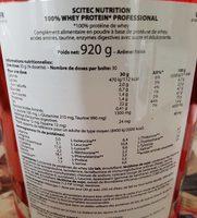 100% Whey Professional 920 GR Scitec Nutrition (fraise - 920 GR) - Nutrition facts