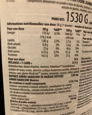 Jumbo Hardcore 1.53KG Scitec (yaourt Banane) - Informations nutritionnelles