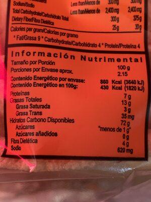 Tostadas Deshidratadas Trega - Informations nutritionnelles - es