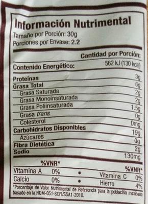 Topitos Linaza - Voedingswaarden - es