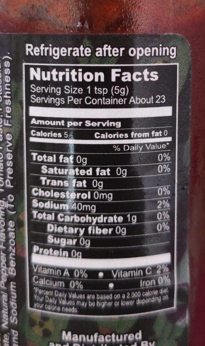 Dabomb beyond insanity hot sauce - Nutrition facts - en