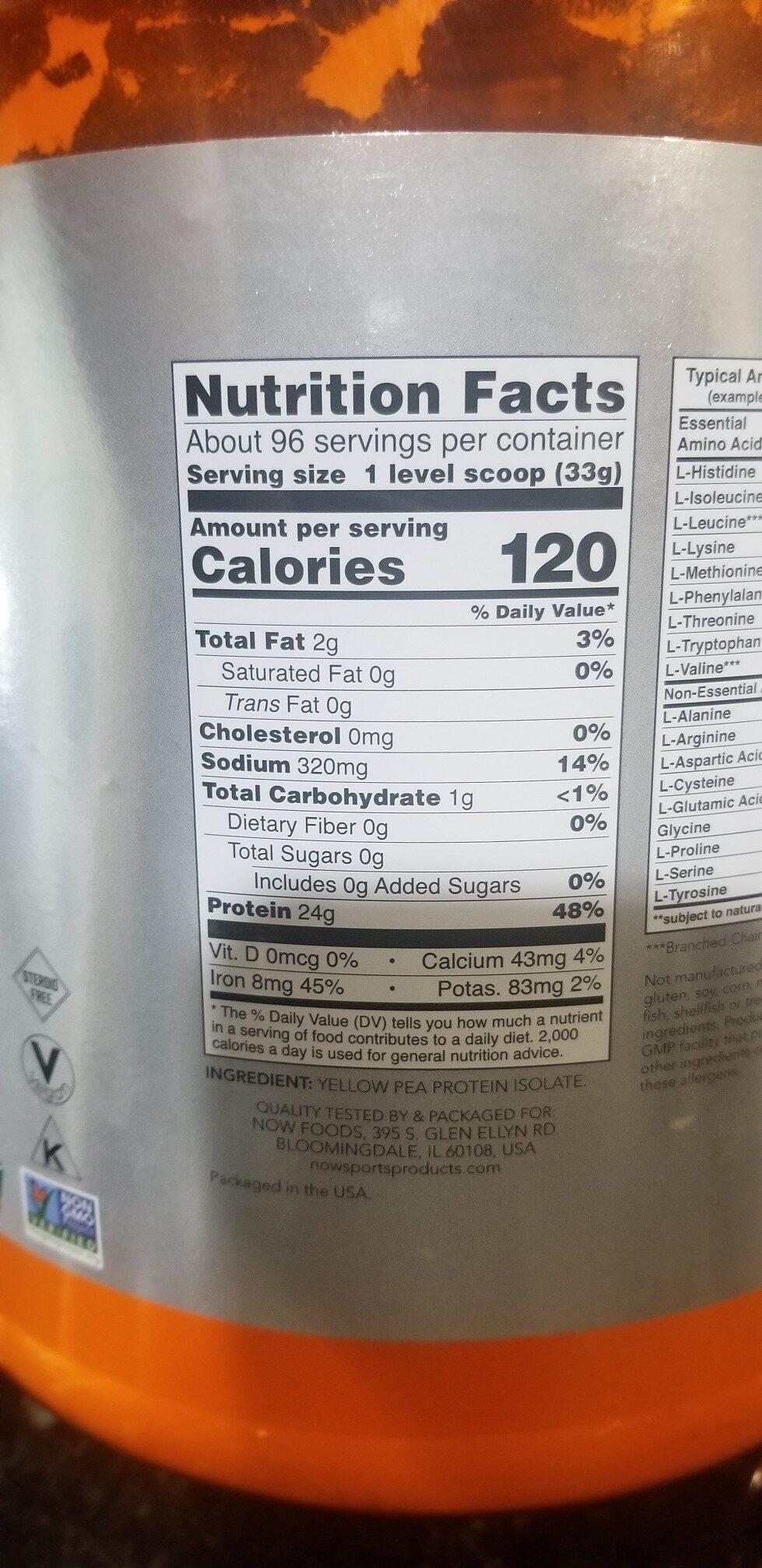 Pea Protein, Pure Unflavored Powder - Ingredients - en