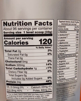 Pea Protein, Pure Unflavored Powder - Nutrition facts