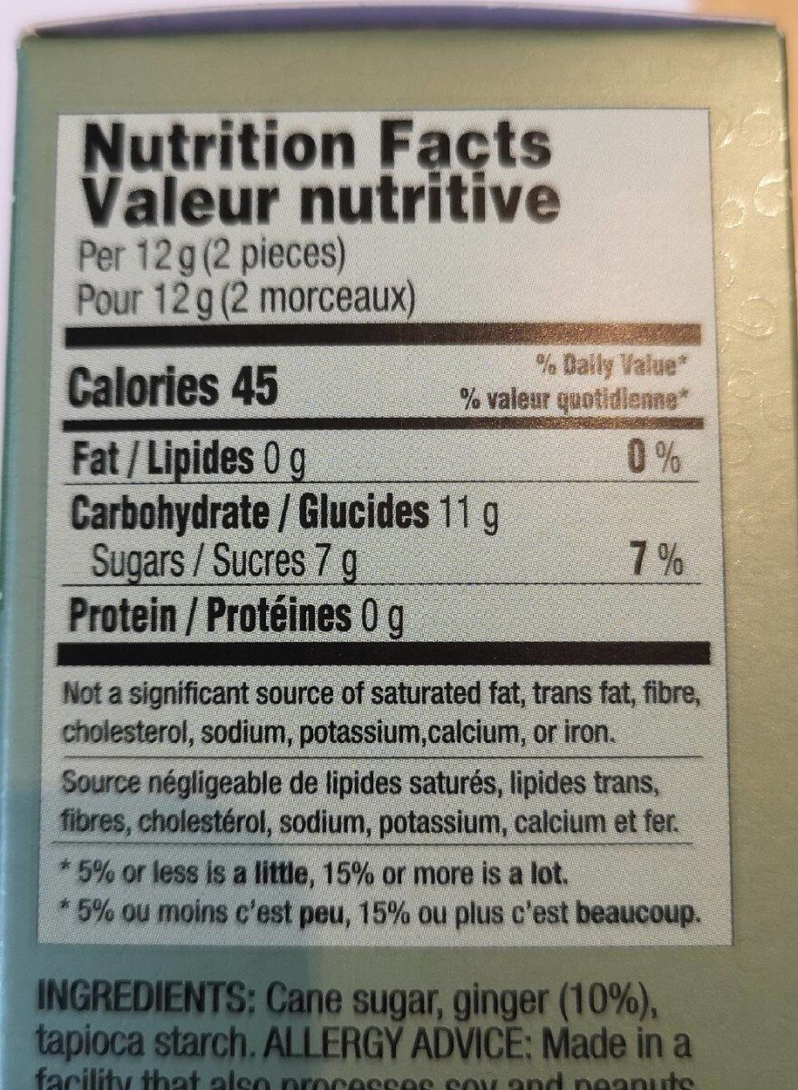 Bonbons mous au Gingembre - Nutrition facts - fr