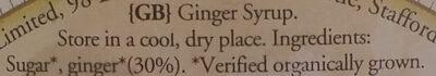 SIROP DE GINGEMBRE - Ingredients - en