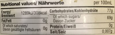 SIROP DE GINGEMBRE - Nutrition facts - en