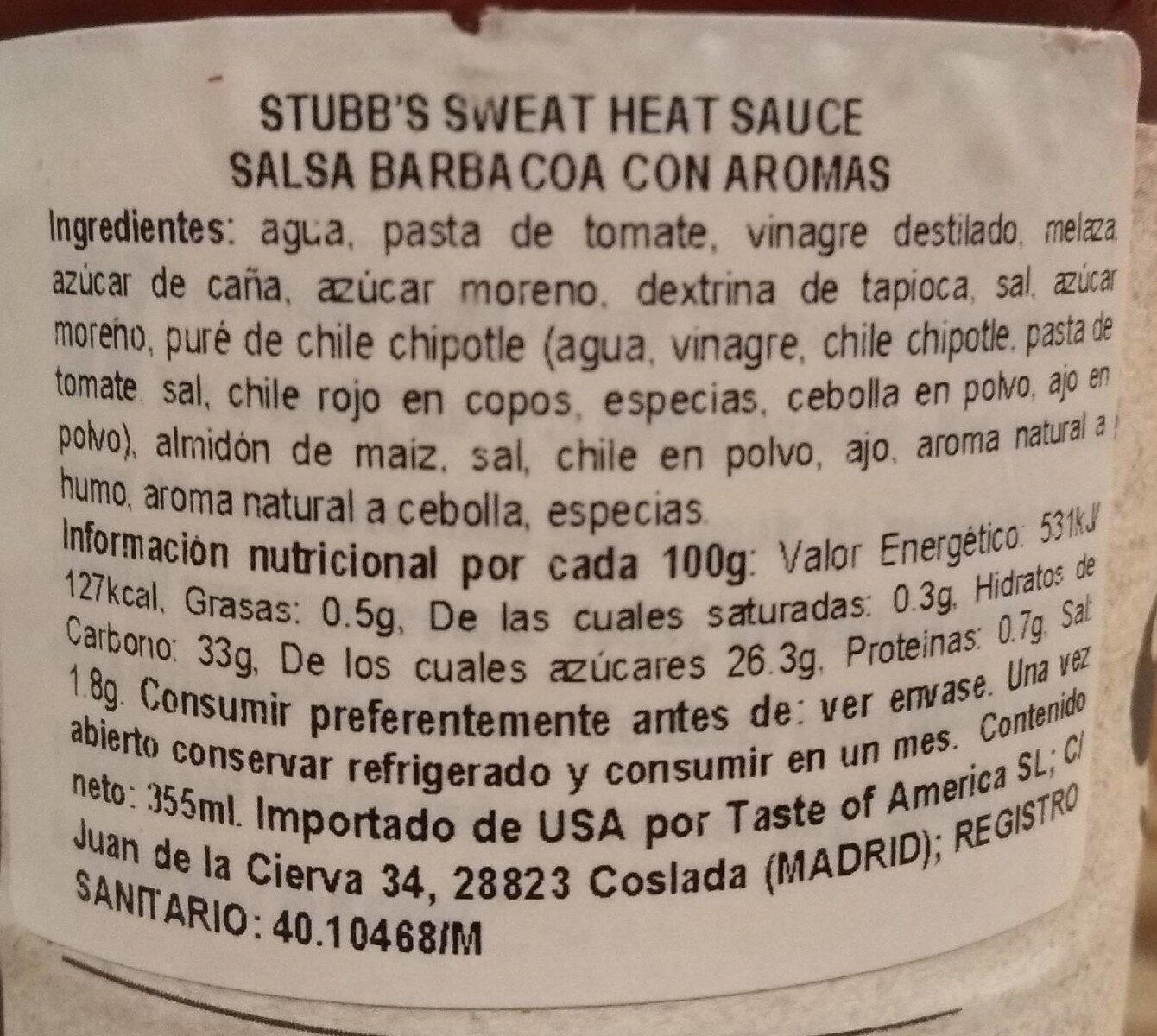 Stubbs Sweet Heat BBQ Sauce - Informació nutricional - es