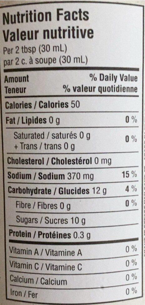 Sauce BBQ Fumee de Mesquite - Nutrition facts - fr