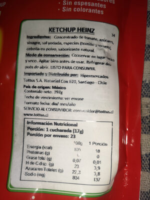 Tomato Ketchup - Nutrition facts - es