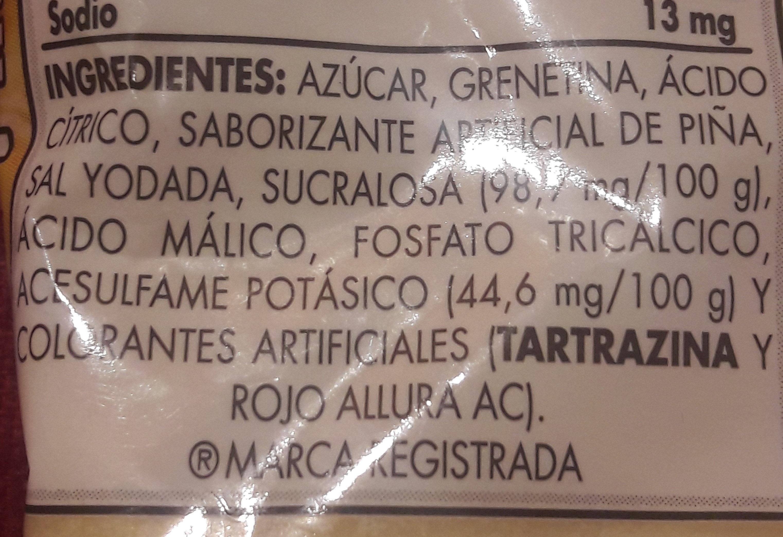 Gelatina D' Gari - Ingrediënten - es