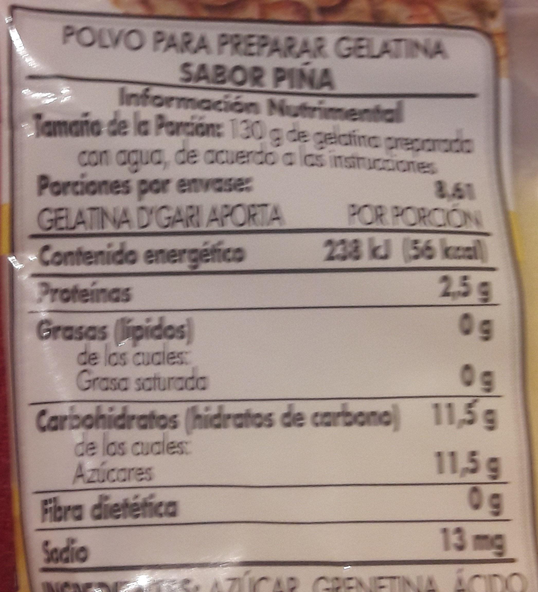 Gelatina cuantas dgari calorias tiene la