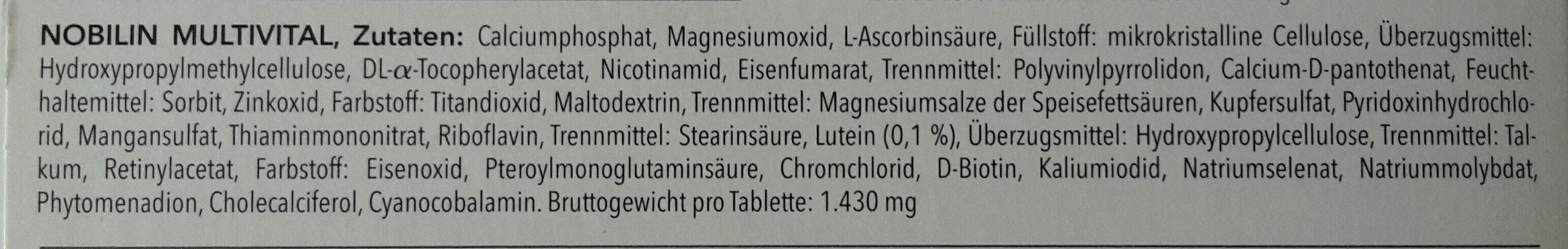 Nobilin Multivital - Ingredients - de