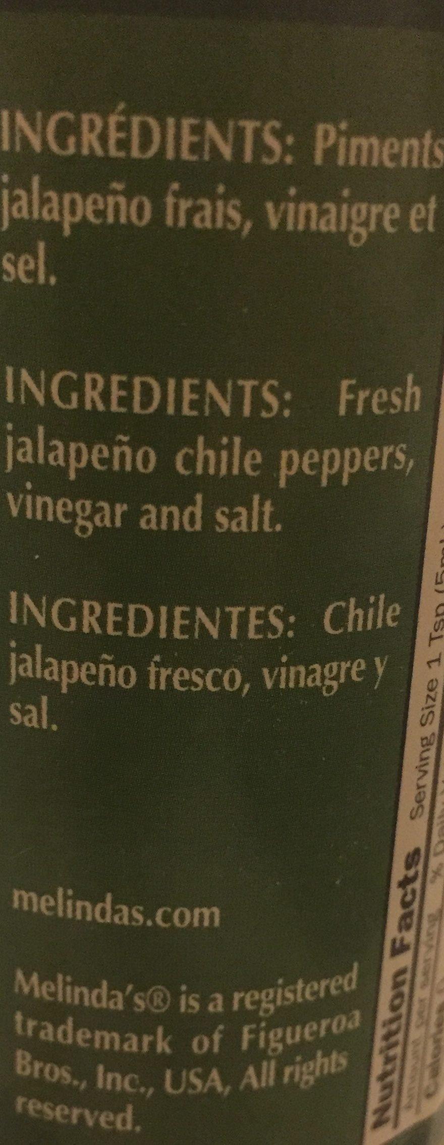Sauce Piment Vert jalapeno - Ingredients