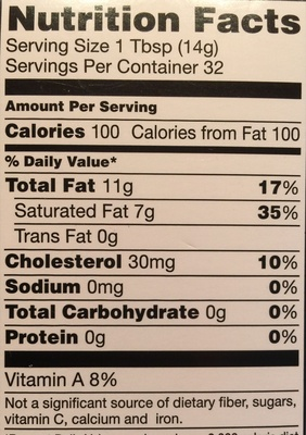 Grade AA Unsalted Butter - Nutrition facts