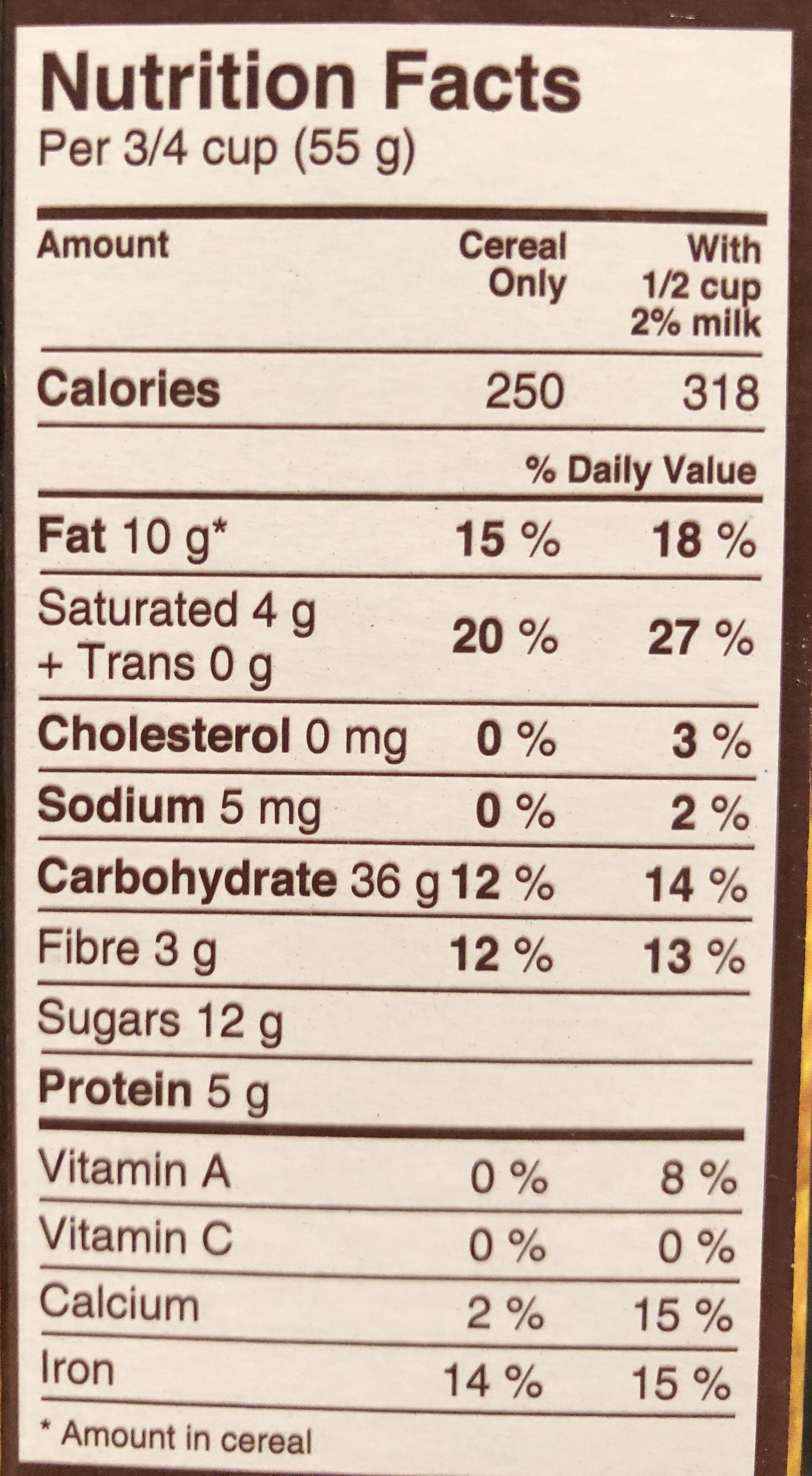 Céréales Croque-matin chocolat - Voedingswaarden - en